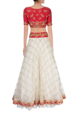 Ivory & red lehenga set