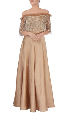 brown embroidered & tasseled gown
