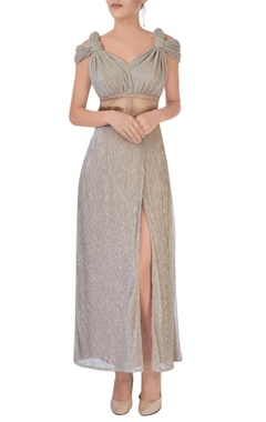 silver maxi dress with sheer detail