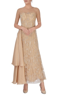 Beige embroidered gown