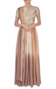 beige & brown shaded anarkali gown