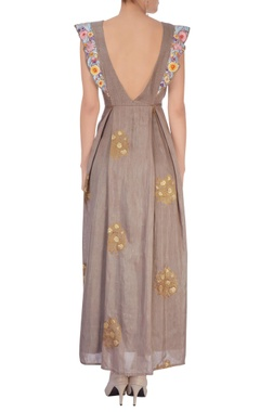 Grey embroidered maxi dress