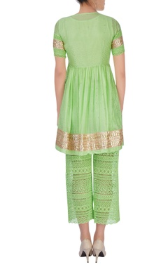 green embroidered kurta with pants