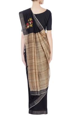 Black & beige embroidered sari