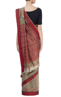 Taupe & red sari with embroidery