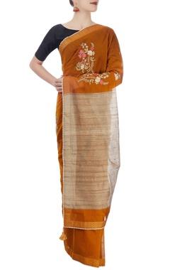 Orange & cream sari with embroidery