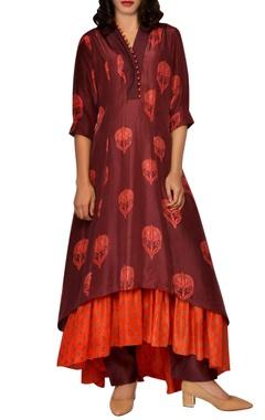 Maroon & orange printed kurta