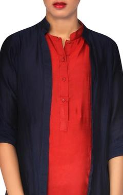 Navy blue & red jacket kurta