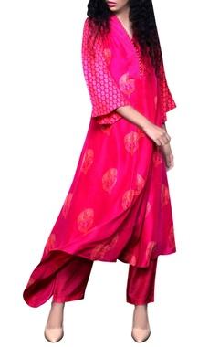 Rani pink printed kurta