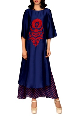 navy blue layered kurta