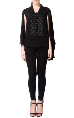 black batwing sleeved top