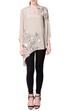 grey embroidered asymmetric top