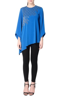 Royal blue embroidered tunic