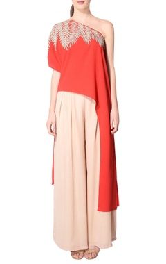red asymmetric one shoulder tunic