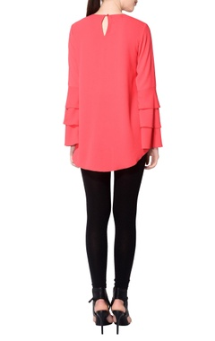 Red blouse with layered sleeves