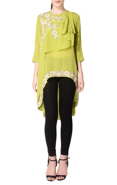 parrot green layered floral tunic