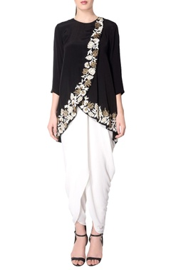 Black embroidered overlapping tunic