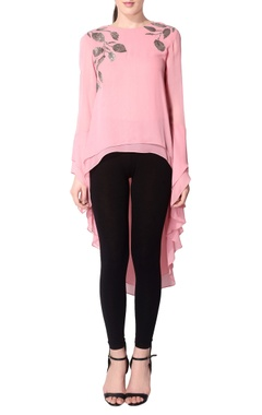 pink asymmetric leaf tunic
