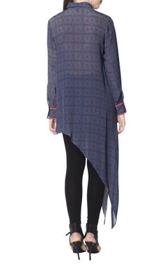blue printed tunic with asymmetric hemline