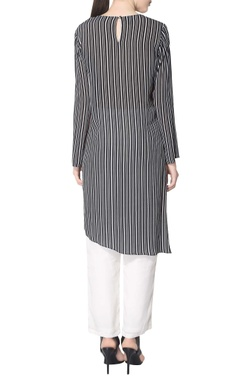 black striped kurta with embroidery