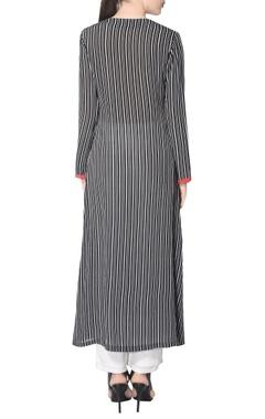 Black & white striped kurta set with embroidery