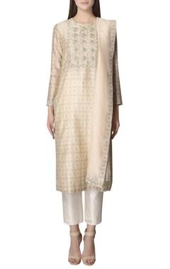 Beige printed kurta set with embroidery