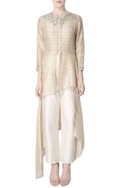 Beige printed tunic with embroidery