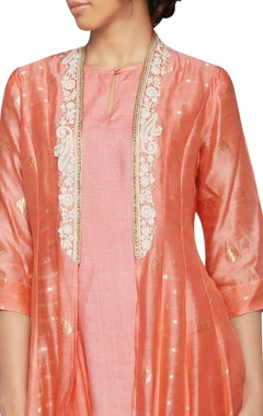 peach cutwork embroidered jacket dress
