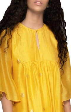 yellow butti pintuck dress
