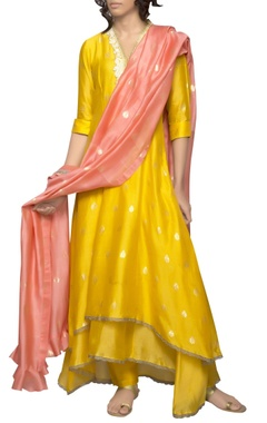 yellow asymmetric kurta set