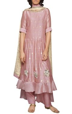 rose pink butti pintuck kurta set