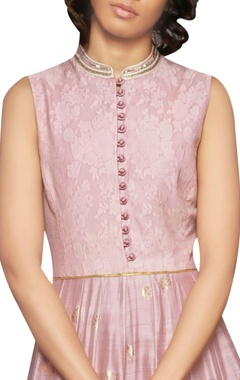 rose pink embroidered paneled dress
