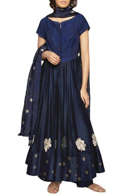 navy blue embroidered kurta and dupatta set
