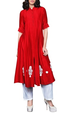 red side pleated anarkali & pants