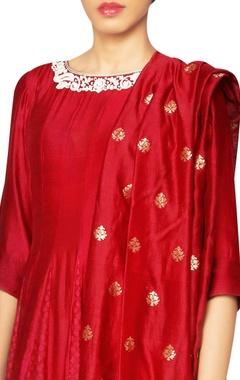 maroon anarkali kurta set