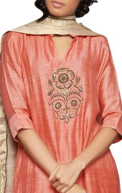 peach embroidered kurta  and dupatta set