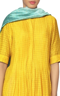 yellow check flared kurta & dupatta
