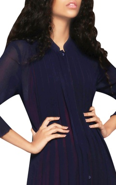 navy blue pintuck paneled dress
