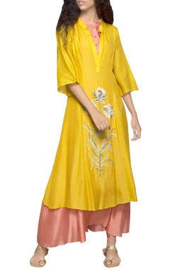 yellow double layer kurta