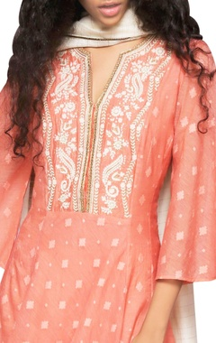 peach embroidered kurta with dupatta