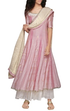rose pink godet kurta and golden dupatta set