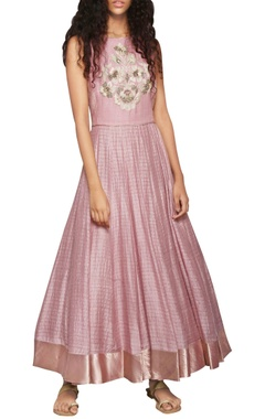 rose pink embroidered anarkali