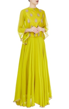 lime green gota embroidered kurta set
