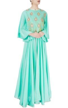 Turquoise gota embroidered kurta set