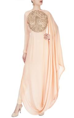 Peach draped kurta with dori work