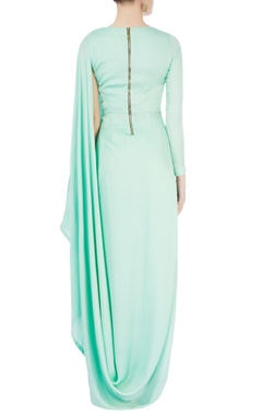 turquoise blue draped kurta with dori work