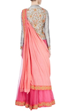 Pink & grey embellished lehenga set