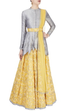 Light yellow & grey embroidered lehenga set