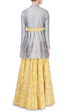 light yellow & grey embroidered lehenga set