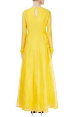 yellow anarkali with tassels